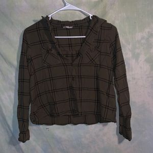 Cropped green flannel